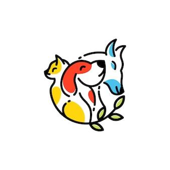 동물과 애완 동물 현대 라인 아트 로고