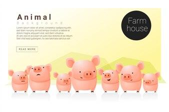Webデザインのための豚と動物のバナー