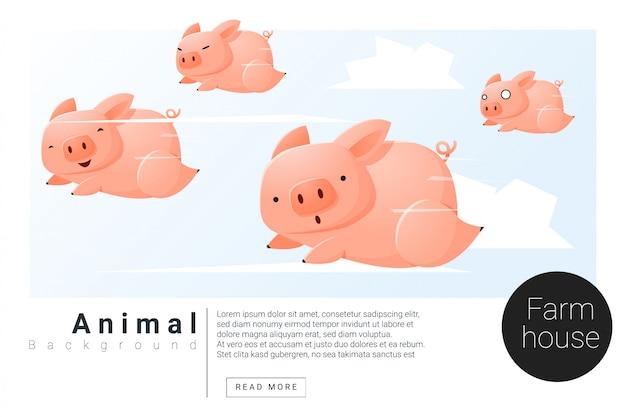 Животное баннер со свиньями для веб-дизайна