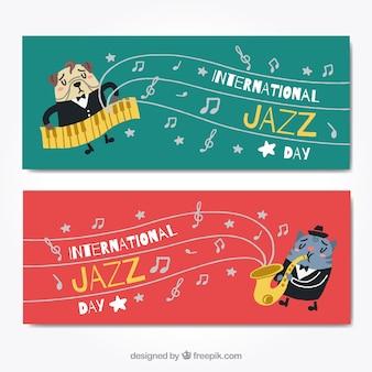 Striscioni animali e musica jazz Vettore gratuito