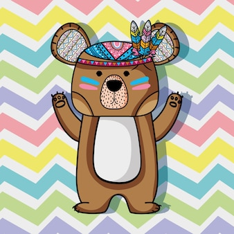 Animal bear tribal with feathers design
