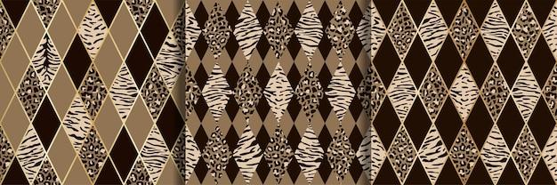 動物のベージュと茶色の幾何学的なシームレスパターンセット