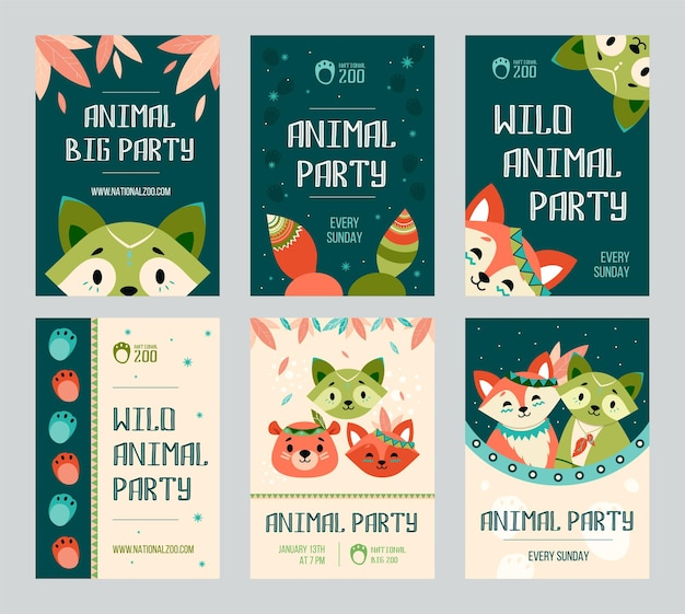 Animal big party flyers set. friendly cute raccoon, fox, bear with decoration in boho style