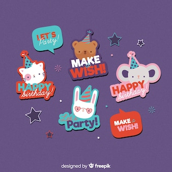 Animal birthday label set