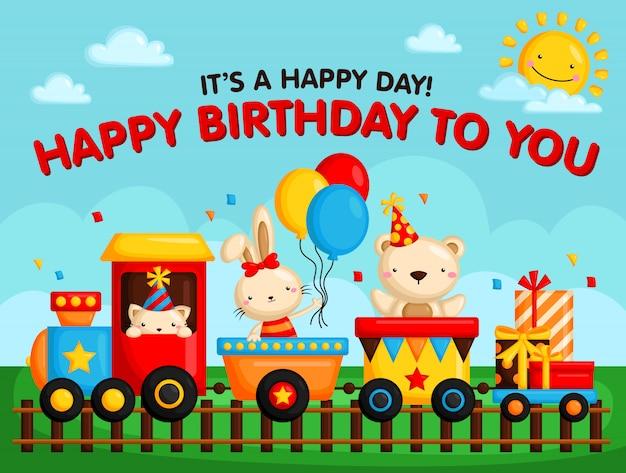 Animal in birthday train invitation