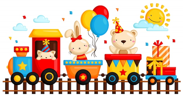 Animal in birthday train