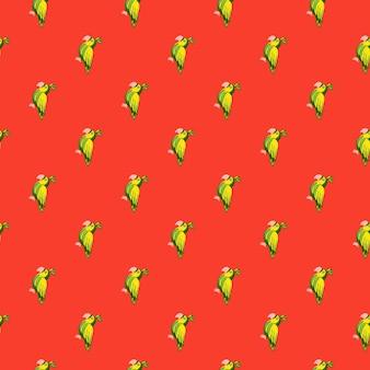 녹색 낙서 앵무새 새 모양으로 동물 밝은 완벽 한 패턴입니다. 빨간색 배경입니다. 만화 동물원 인쇄.