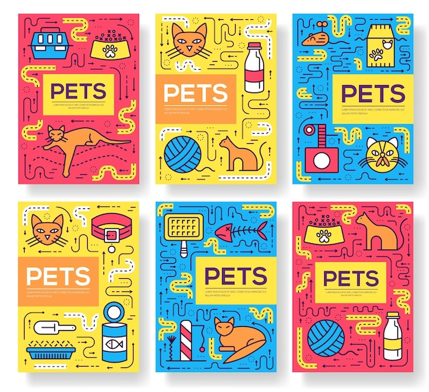 動物パンフレットカード細線セット。 flyear、本の表紙、バナーのかわいい家のペットのテンプレート。