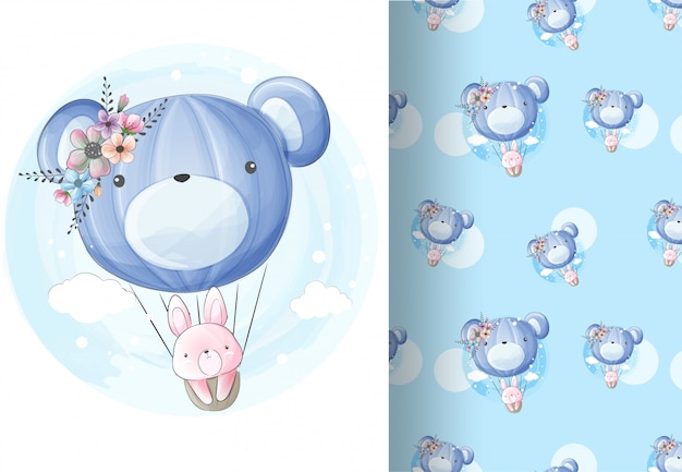 Animal bunny fly on the balloon