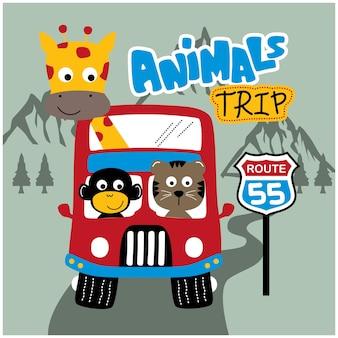 도로에 동물 버스 재미있는 동물 만화