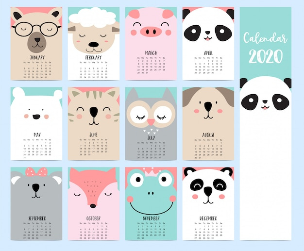 Animal calendar 2020 with woodland for children.