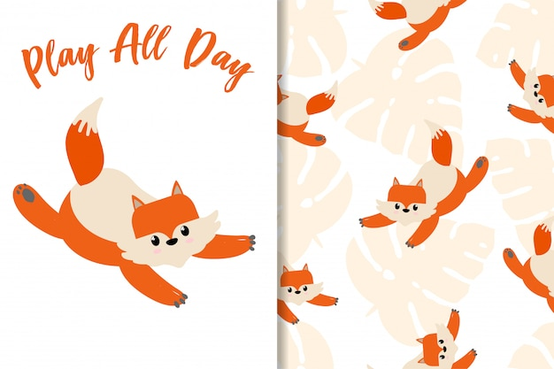 Animal card fox hand drawn pattern set
