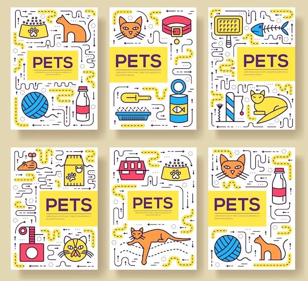 Animal cards thin line set illustration