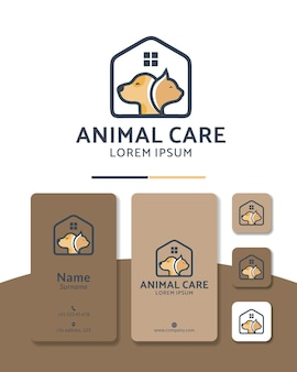動物の世話をする猫と犬のロゴデザインホームヘルス病院のペットショップ