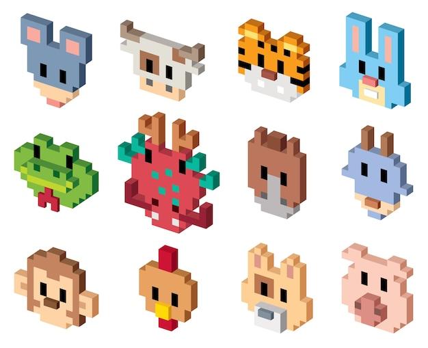 Animal cartoon - pixel art