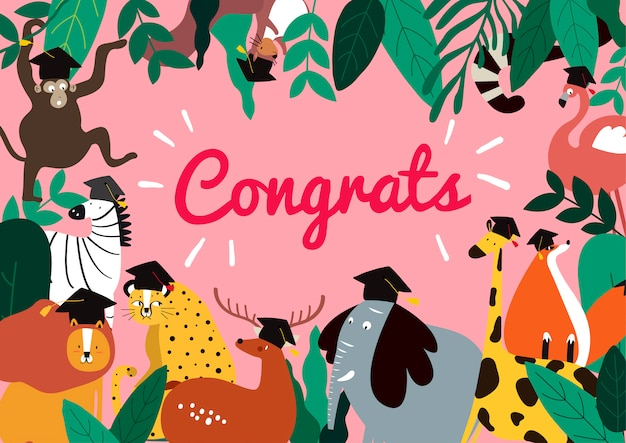 Animal cartoon style graduation card vector