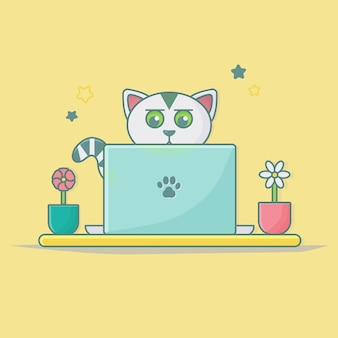 Animal cat icon for web landing page banner sticker