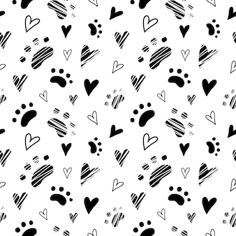 Animal cat paws and heart pattern seamless