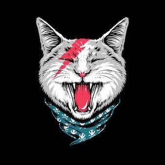 Animal cat rock style roar  illustration