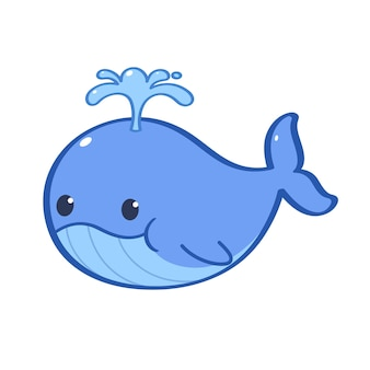 동물 캐릭터 그의 머리에 물을 펌핑하는 푸른 고래 벡터 평면 만화 캐릭터