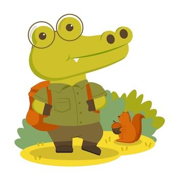ハイキング用の服と快適なバックパックを身に着けている動物のキャラクターのワニ。