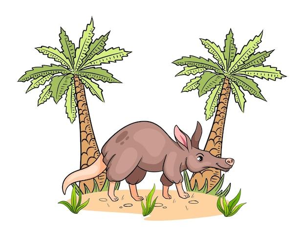 Animal character funny aardvark in cartoon style childrens illustration