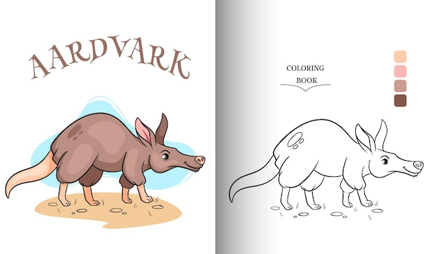 Animal character funny aardvark in cartoon style coloring page.