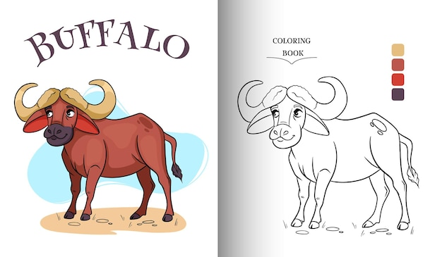 Animal character funny african bull in cartoon style coloring page.