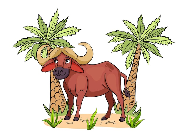 Animal character funny buffalo in cartoon style childrens illustration