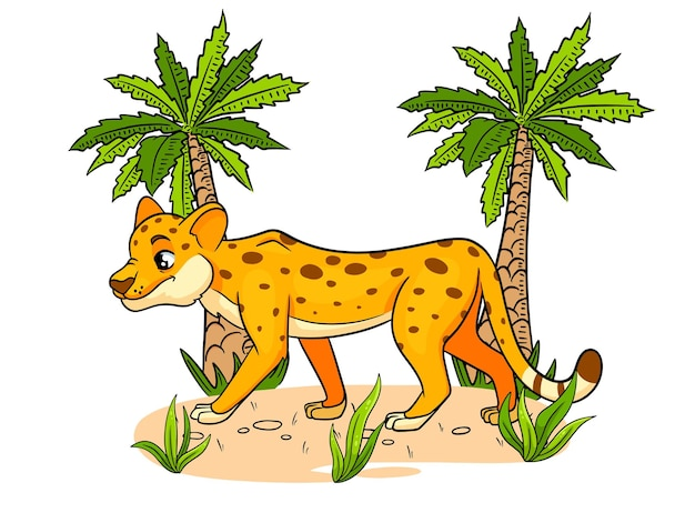 Animal character funny cheetah in cartoon style childrens illustration