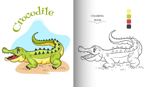 Animal character funny crocodile in cartoon style coloring book page. children's illustration. vector illustration.
