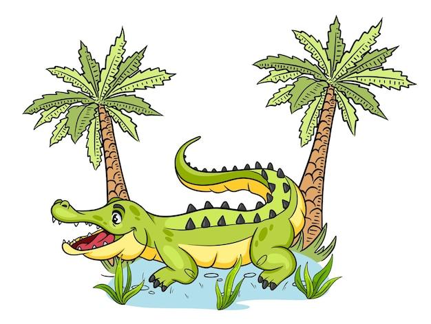 Animal character funny crocodile in cartoon style