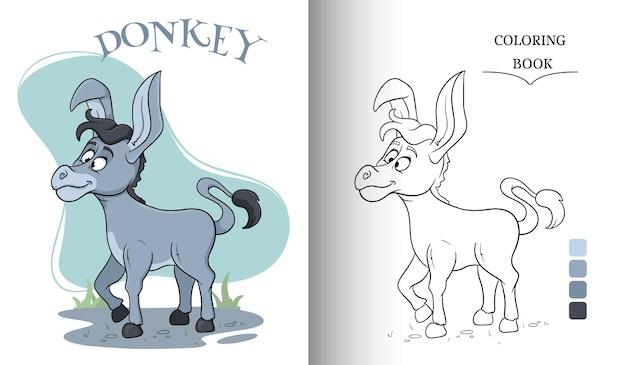 만화 스타일 색칠하기 책 페이지에서 동물 캐릭터 재미있는 당나귀. 어린이 그림. 벡터 일러스트 레이 션.