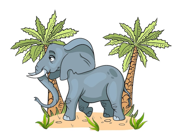 Animal character funny elephant in cartoon style childrens illustration