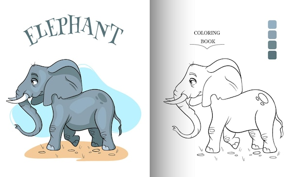 Animal character funny elephant in cartoon style coloring page. children's illustration. vector illustration.