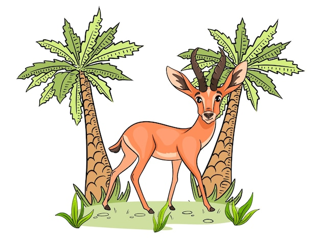 Animal character funny gazelle in cartoon style childrens illustration