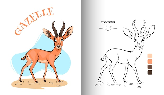 Animal character funny gazelle in cartoon style coloring page.