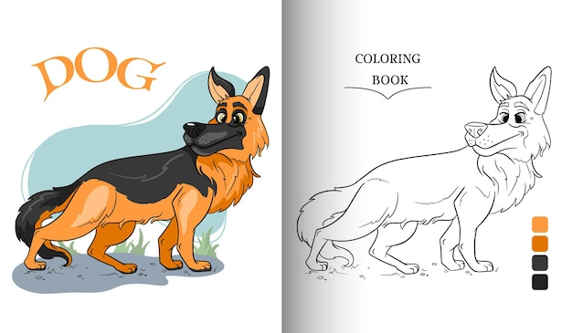 Animal character funny german shepherd in cartoon style coloring book page. children's illustration. vector illustration.