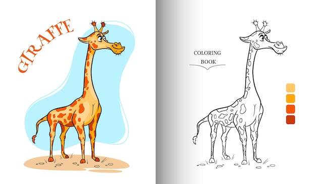 Animal character funny giraffe in cartoon style coloring page.