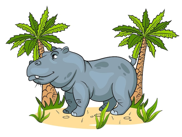 Animal character funny hippo in cartoon style childrens illustration