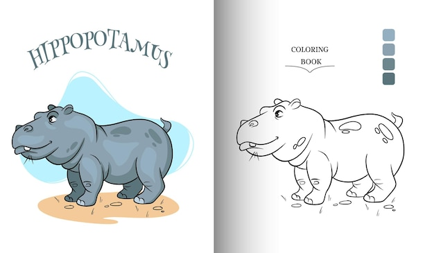 Animal character funny hippo in cartoon style coloring page.