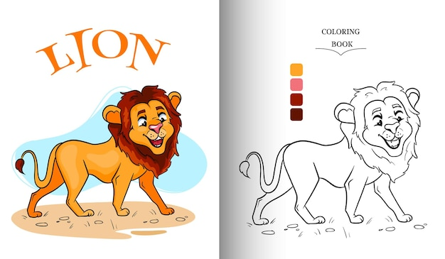 Animal character funny lion in cartoon style coloring page.