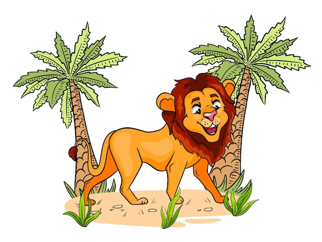 Animal character funny lion in cartoon style