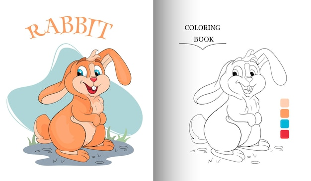 Animal character funny rabbit in cartoon style coloring book page. children's illustration. vector illustration.