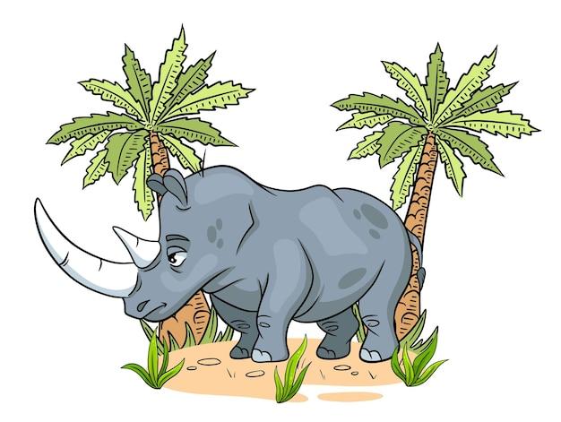 Animal character funny rhinoceros in cartoon style childrens illustration