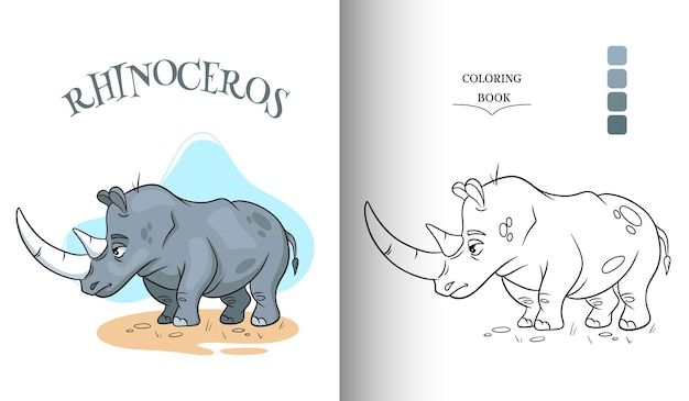 Animal character funny rhinoceros in cartoon style coloring page.