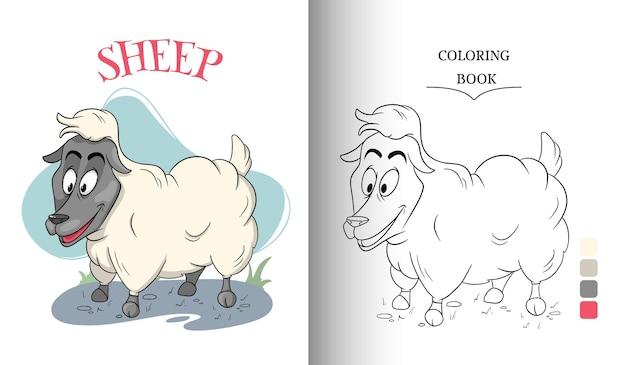 만화 스타일 색칠하기 책 페이지에서 동물 캐릭터 재미있는 양. 어린이 그림. 벡터 일러스트 레이 션.