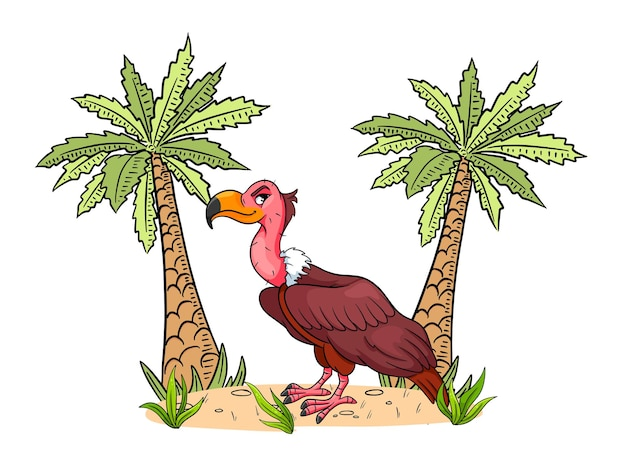 Animal character funny vulture in cartoon style. children's illustration. vector illustration for design and decoration.