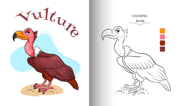 Animal character funny vulture in cartoon style coloring page. children's illustration. vector illustration.