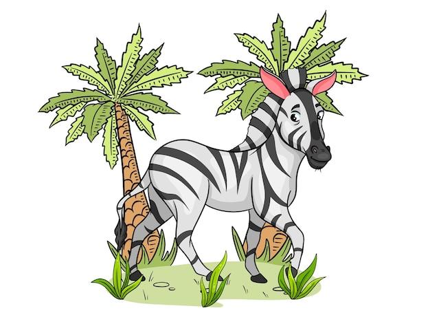 Animal character funny zebra in cartoon style childrens illustration vector illustration fo